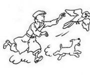 Coloriage et dessins gratuit Tintin attrape le Perroquet à imprimer
