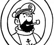 Coloriage et dessins gratuit Tintin Capitaine Haddock à imprimer