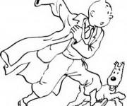 Coloriage et dessins gratuit Tintin dessin animé à imprimer