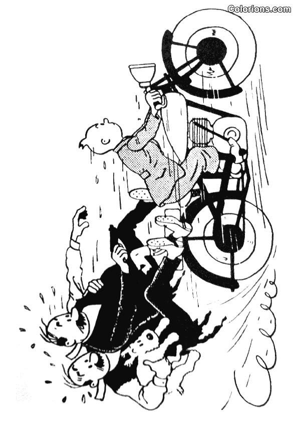 Coloriage et dessins gratuits Tintin Dupond et Dupont humoristique à imprimer
