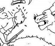 Coloriage Tintin effrayé