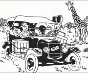 Coloriage Tintin en Afrique