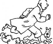 Coloriage et dessins gratuit Tintin en couleur à imprimer