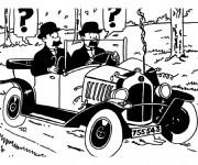 Coloriage Tintin en noir et blanc
