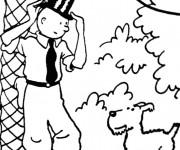 Coloriage Tintin en portant un Chapeau original