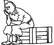 Coloriage Tintin en train de penser