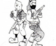Coloriage Tintin et Capitaine Haddock magique