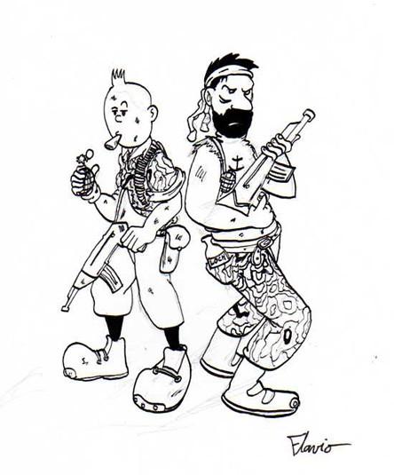 Coloriage tintin et capitaine haddock magique dessin - Tintin gratuit ...