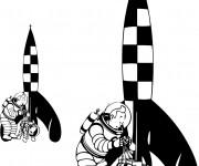 Coloriage Tintin et La Mission de La Lune
