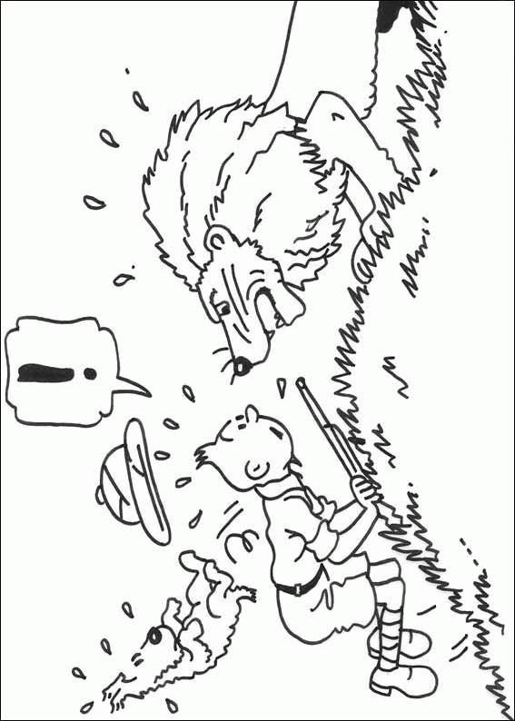 Coloriage et dessins gratuits Tintin et Le Lion à imprimer