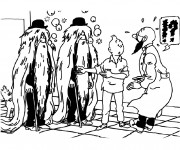 Coloriage Tintin et Le Professeur Bergamotte