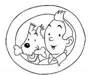 Coloriage et dessins gratuit Tintin et Milou en couleur à imprimer