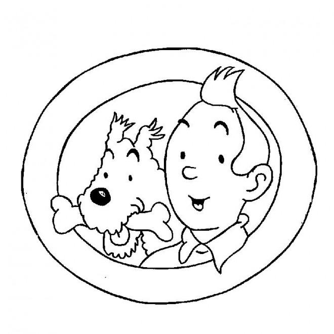Coloriage et dessins gratuits Tintin et Milou en couleur à imprimer