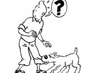 Coloriage et dessins gratuit Tintin et Milou pour Enfant à imprimer