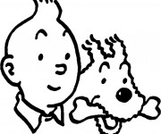 Coloriage Tintin et Milou vecteur