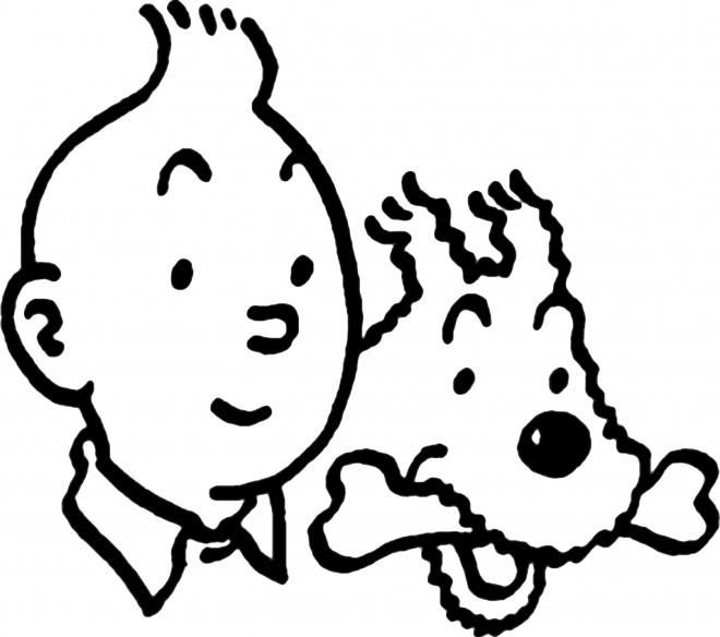 Coloriage tintin et milou vecteur dessin gratuit imprimer - Tintin gratuit ...