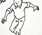 Coloriage Tintin qui court