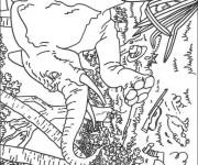 Coloriage Tintin s'échappe dans La Forêt