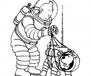 Coloriage et dessins gratuit Tintin sur La Lune à imprimer