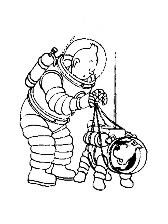 Coloriage tintin sur la lune dessin gratuit imprimer - Tintin gratuit ...