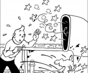 Coloriage et dessins gratuit Tintin sur Le Bateau à imprimer
