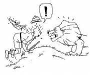 Coloriage Tintin surpris par le lion