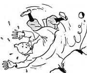 Coloriage Tintin tombe de La Falaise