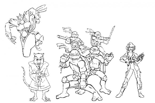 Coloriage les personnages de tortues ninja dessin anim - Dessin anime tortues ninja ...