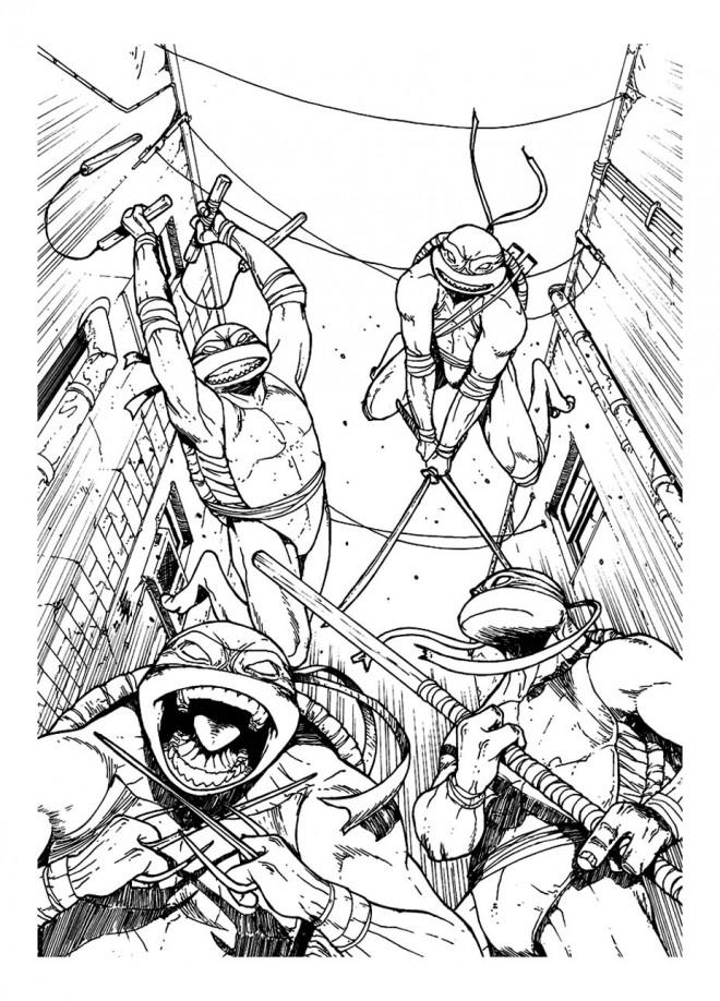 Coloriage et dessins gratuits Les  quatres Tortues Ninja couleur à imprimer