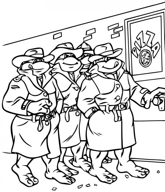 Coloriage et dessins gratuits Les Tortues Ninja dans La Ville à imprimer