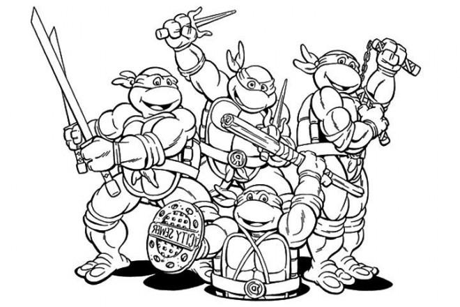 Coloriage et dessins gratuits Portrait de Quatres Tortues Ninja à imprimer
