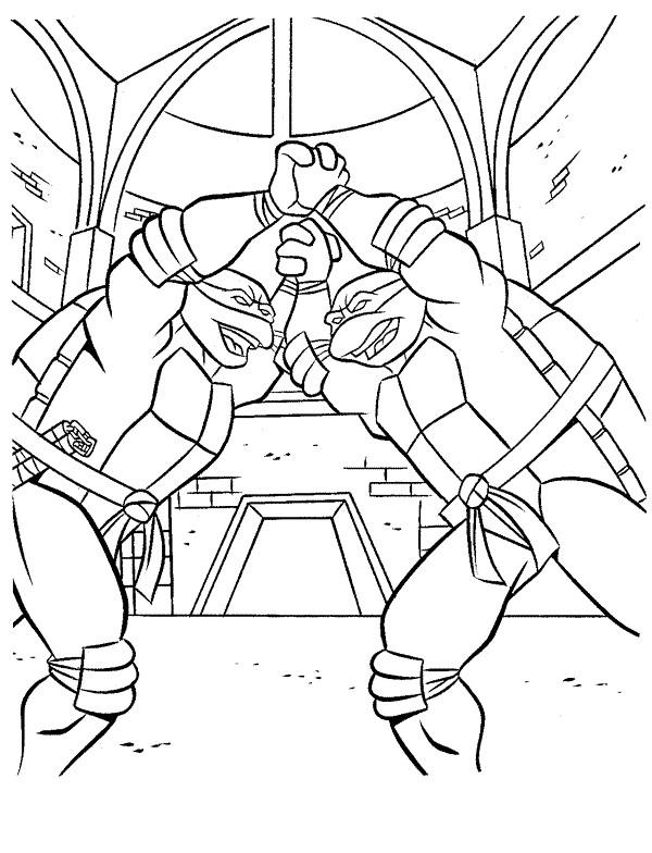 Coloriage et dessins gratuits Raphael et Donatello s'entraînent à imprimer