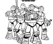 Coloriage et dessins gratuit Tortue Ninja Affiche à imprimer