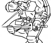 Coloriage Tortue Ninja armé