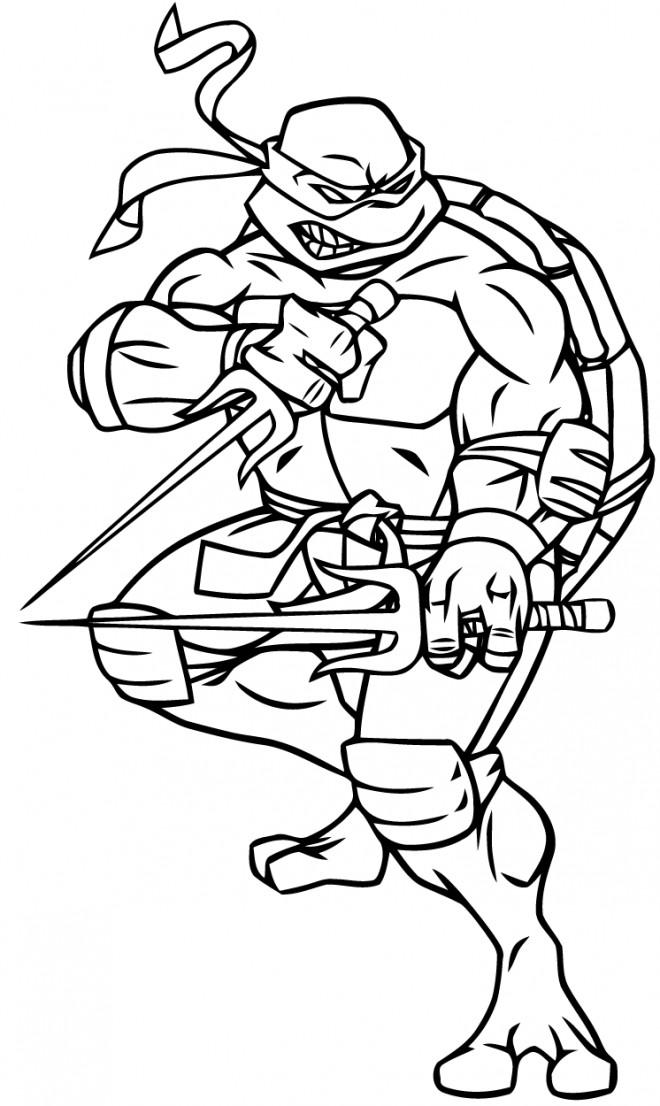 Coloriage Tortue Ninja armé dessin gratuit à imprimer