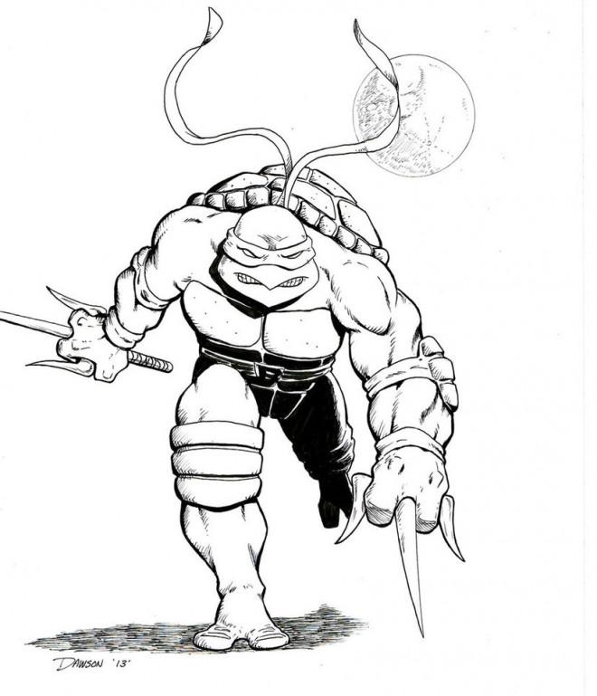 Coloriage Tortue Ninja artistique dessin gratuit à imprimer