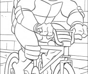 Coloriage Tortue Ninja conduit La Bicyclette