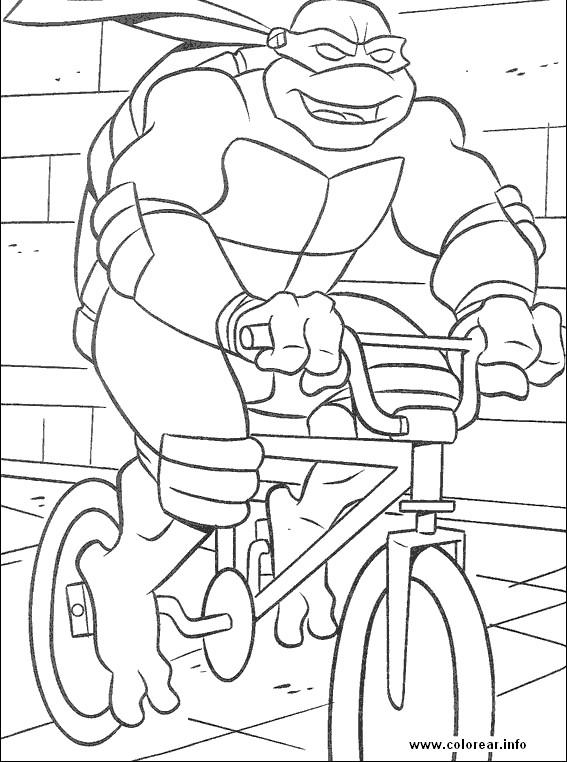 Coloriage et dessins gratuits Tortue Ninja conduit La Bicyclette à imprimer