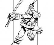 Coloriage et dessins gratuit Tortue Ninja couleur à imprimer