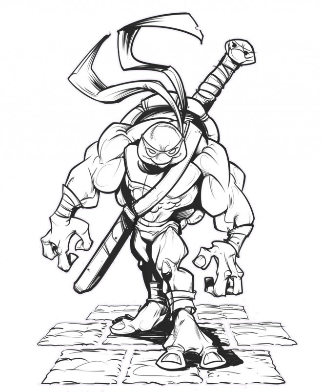Coloriage Tortue Ninja Donatello Musclé Dessin Gratuit à