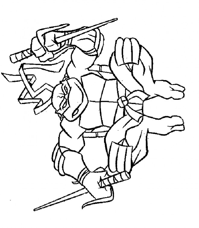 Coloriage Tortue Ninja En Action Dessin Gratuit à Imprimer