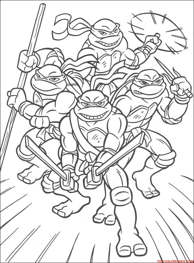 Coloriage tortue ninja en ligne dessin gratuit imprimer - Dessin anime des tortues ninja ...