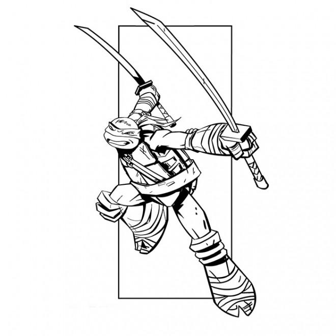 Coloriage et dessins gratuits Tortue Ninja facile à imprimer