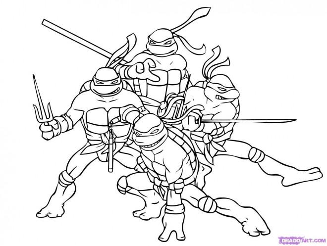 Coloriage et dessins gratuits Tortue Ninja Héros à imprimer