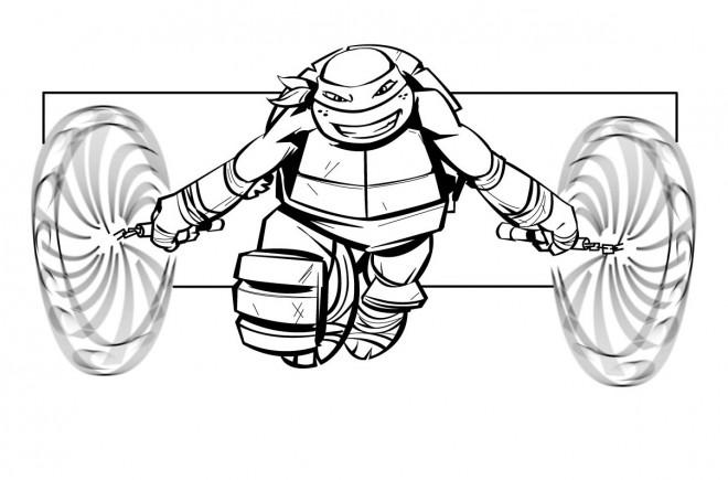 Coloriage Tortue Ninja Michelangelo Dessin Gratuit à Imprimer