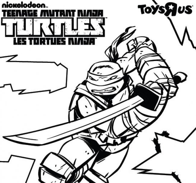 Coloriage Tortue Ninja Portant Son épée
