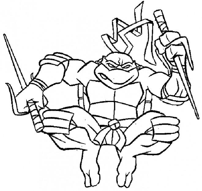 Coloriage et dessins gratuits Tortue Ninja près pour Le Combat à imprimer