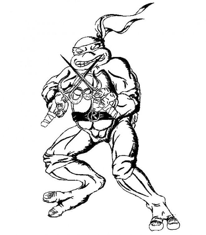 Coloriage Tortue Ninja Raphael Dessin Gratuit à Imprimer