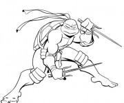 Coloriage et dessins gratuit Tortue Ninja Raphael magique à imprimer