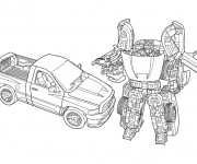 Coloriage Transformers Bumblebee voiture